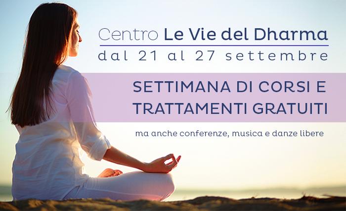 Dal 21al 27 Settembre: Corsi e Trattamenti Gratuiti al Centro Yoga Le Vie del Dharma