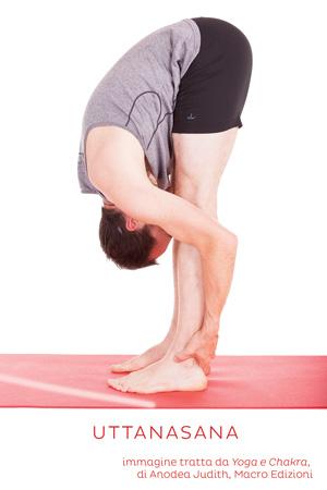 come fare uttanasana, la posizione di allungamento in avanti in piedi