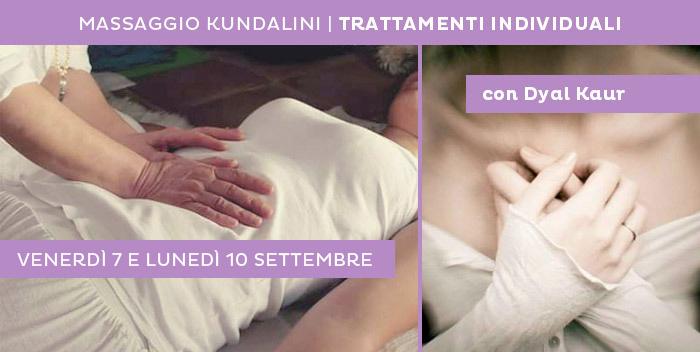 7 e 10 settembre: trattamenti individuali di massaggio kundalini